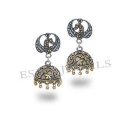 Dancing Peacock Silver Gold Plated Jhumka