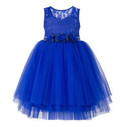 White 70% Polyster And 30% Cotton Blue Multilayered Kids Party Wear Dresses