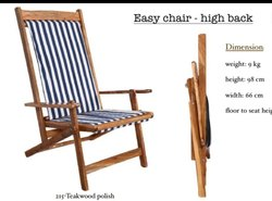 High Back Wooden Folding Easy Chair