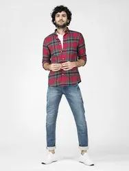 Check Red Full Sleeve Men Casual Cotton Shirt