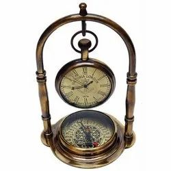 Brass Table Clock with Compass, Model Name/Number: Double Stand, Size: 3.5 X 3 X 5.5 Inch