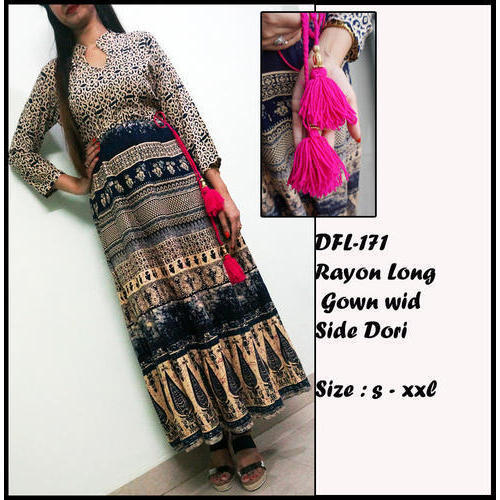 XL Ethnic Ladies Rayon Long Gown With Side