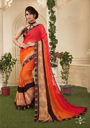 Orange & Red Shaded Crepe Casual Saree