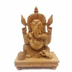 Wooden Carved Lord Ganesha Statue