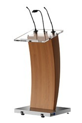 Wooden Podium With Mic
