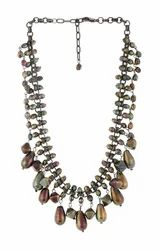 Gunmetal Chain With Luster Glass Beads Necklace