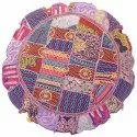 Purple Indian Vintage Embroidered Home Decor Cotton Round Floor Cushions 32 Inches