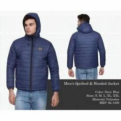 Mens Navy Blue Quilted And Hooded Jacket