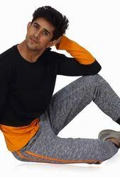 Black And Saffron Cotton Jopo Color Block Long Sleeve Crew Neck T-Shirt, Size: S M L XL