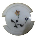 Round Marble Inlay Coaster Set