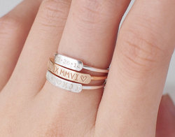 Dainty Bar - Stackable - Custom Name Ring
