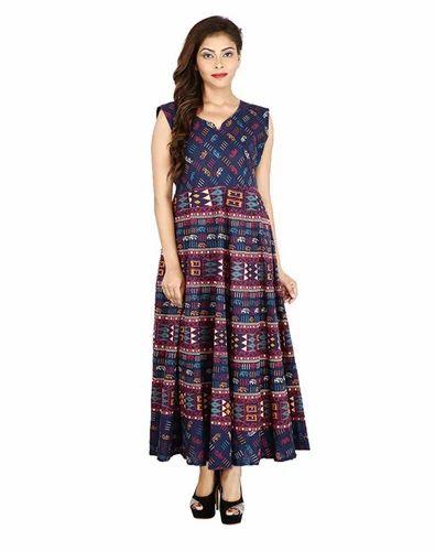 c1bd7d2945b3 Jaipur Bagru Print Coffee Cotton Maxi Dress Gown at Rs 651  piece ...