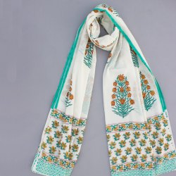 Women Summer Cotton Black Floral White Base Sky Blue Printed Dupatta Jaipuri Print Stole