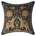Dark Blue Brocade Throw Pillow Cushion Covers