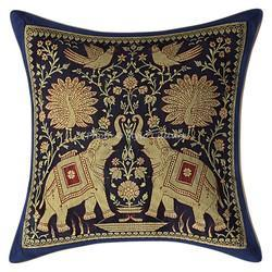 Dark Blue Brocade Throw Pillow Cushion Covers