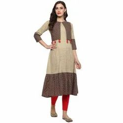 Yash Gallery Women's Beige and Brown Cotton Fringed A-Line Kurti