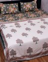 Hand Block Printed Tree Design Cotton Pure White Dohar For Bed