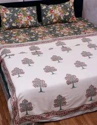 Hand Block Printed Mulmul Cotton Pure White Reversible Dohar For Bed