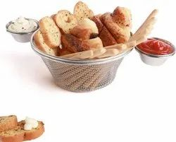 Silver Stainless Steel Round Basket With 2 Sauce Cup, Packaging Type: Box, Size: 30 Cm