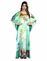 Digital Printed Free Size Satin Silk Party Wear Kaftans Kurta For Women