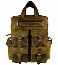 Tobacoo Leather Backpack Bag, Size: 18 inch