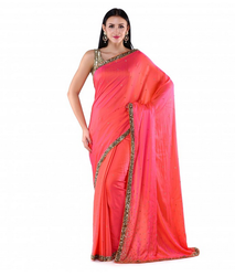 Pink Silk Georgette Saree With Sequence And Bead Work, With Blouse Piece