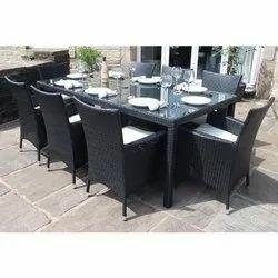 Black 8 Seater Garden Cane Wicker Designer Dining Table