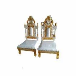B-Brown Arts White,Gold Sofa Chair