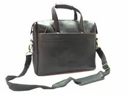 Black Leather Laptop Shoulder Bag
