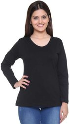 Black Plain Cotton T Shirt