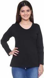 Black Plain Cotton T Shirt