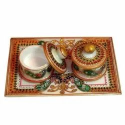 Marble Hand Painted Supari Daan with Tray