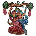 White Metal Minakari Artwork Radha Krishna Wall Decor Figure