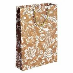 Handled Brown and White Floral Printed Paper Carry Bag
