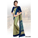 Printed Blue Bordered Uniform Saree