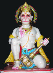 Marble Hanuman Statue Sitting