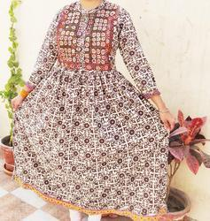 Multicolor Kachhi Embroidery Jaipuri Patchwork Dress