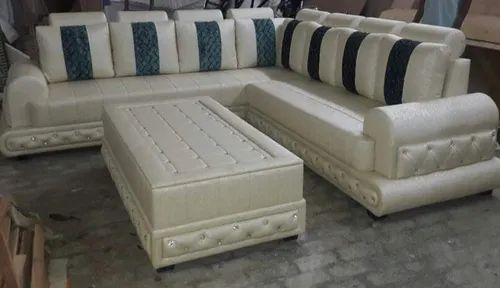 White Wooden Letherise Corner Sofa With Center Table, Rs 28000 /unit ...