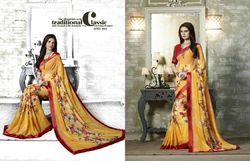 Yellow Flower Georgette Printed Saree