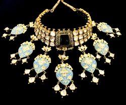 Golden and Blue Royal Kundan and Meenakari Bridal Necklace Set