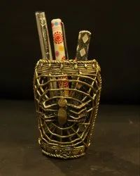 Justhandcrafted Golden Dhokra Pen Stand, Size: (7*7*9)