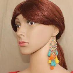 Assorted Beaded Tassel Earrings, Size: Free