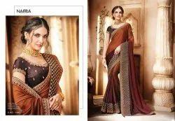 Nairra Party Wear Brown Satin Georgette Designer Saree, 6 m (with blouse piece)