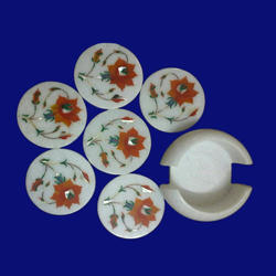 Marble India Inlay Coaster Set