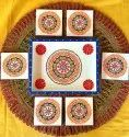 Flo Art Traditional Design Wooden Tray With Tea Coasters, Size: 8