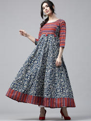 BLUE & MAROON BOHEMIAN PRINTED FLARED ANARKALI