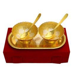 Brass Ware 2 Bowl Set With Spoon And Tray