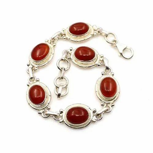 Carline Stone 925 Sterling Silver Oval Shape Women Bracelet