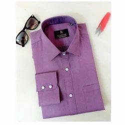 Mens Cotton Formal Purple Shirt, Size: M to XXL