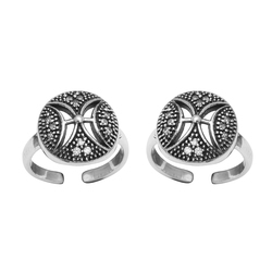 SHTR0035 925 Sterling Silver Oxidized Toe Ring